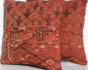 throw accent pillows turkoman kilim rug pillow cases handmade two rug pillow covers area rug SET 1091