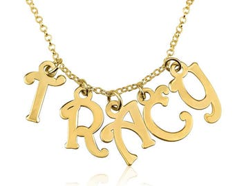 Name Necklace Jewelry Pendant 24k Gold Plated Charm Name Necklace