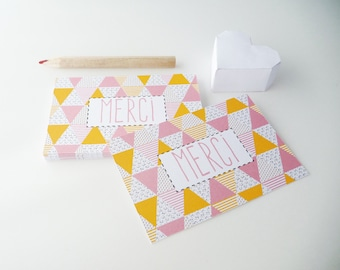 Set of 18 cards of thanks with a patchwork style print
