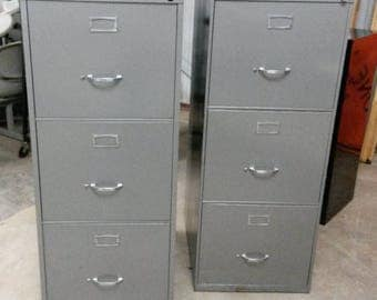 Vintage STEELCASE Filing Cabinets, 3-Drawers each, Original Grey Finish, Art Deco Hardware, **Local P/U only**, Legal Size Drawers