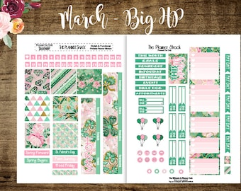 March Monthly | Big Happy Planner | Printable Planner Stickers | March | Monthly View | St. Patricks Day | Shamrocks | Planner | Printables