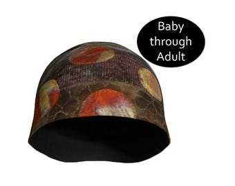 Brown Hat Beanie Printed Cap Men Women Children Youth Teen Baby Toddler, Lightweight, Boho Hipster Fashion, Stretchy Spandex, Gift for Him