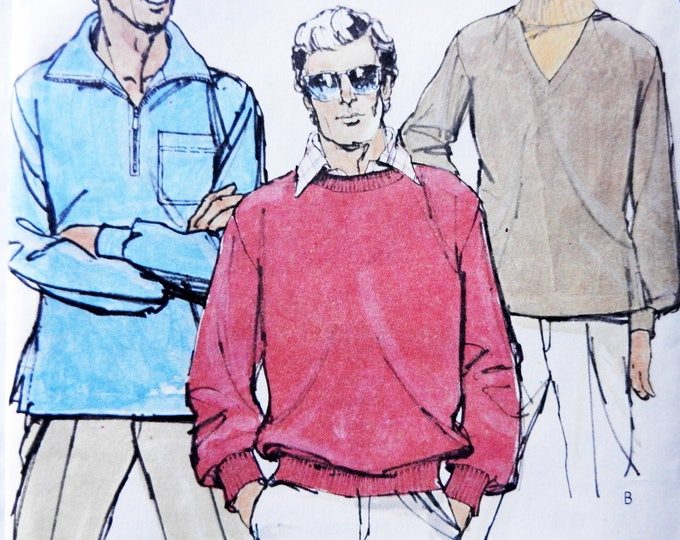 Men's Vintage 70's Pullover Sweatshirt Tops - McCall's Carefree 6346 Sewing Pattern Size Medium