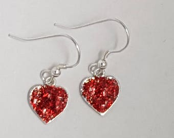 Sparkly Heart Earrings Gold or Red