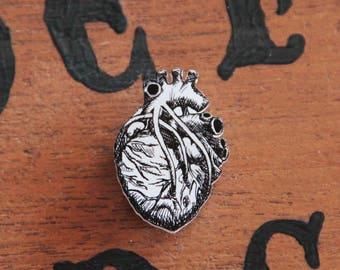 Hand drawn anatomical heart brooch