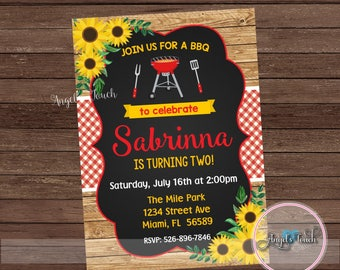BBQ Birthday Party Invitation, BBQ Party Invitation Sunflowers,Backyard BBQ Party Invitation Sunflowers, Picnic Invitation, Digital File