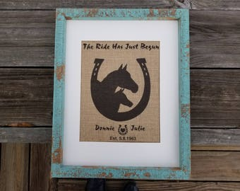 ride has just begun, horse gifts, horse decor, horse wedding gift, wedding gift, rustic decor, farmhouse decor, horseshoe decor, home decor