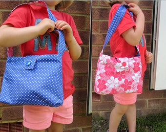 Pink and blue reversible child's handbag
