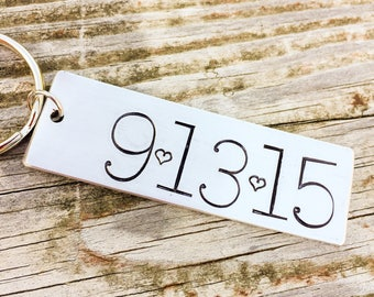 Hand Stamped Keychain Date Keychain Anniversary Gift Personalized Date Keychain Anniversary Gift for Him Gift for her wedding Gift