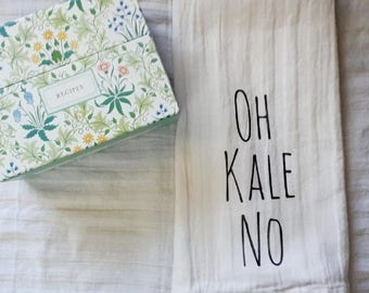 Oh Kale No tea towel. Kitchen towel. Kitchen decor. Kitchen Pun. Hand towel. home decor.