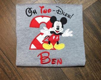 Mickey Mouse Birthday Shirt, 2nd Birthday Shirt for Boys, Oh Two-dles Birthday Shirt, Mickey Mouse Birthday Party, Boys Birthday Shirt,
