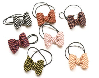 7 pieces Wire Ribbon Bow, Hair Elastic, Hair Ponytail, Hair Rubber Band