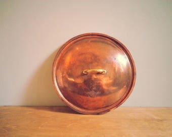 Vintage Copper Saucepan Lid with Attractive Brass Handle - c. 22.5cm diameter