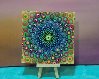 Dot Mandala, Painting, 6x6 inch, Art by Kaila Lance, Dotillism, Dot Art, Mandala, Meditation Art, Psychedelic, Bubble Room, Sacred Geometry