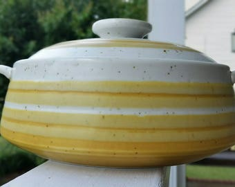 Japanese Mid Century Mustard Colored Otagiri Casserole with Lid - Perfect Condition