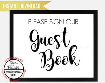 Please Sign our Guest Book Sign, Wedding Sign, Baby Shower Bridal Shower, Birthday Sign, Instant Download, printable