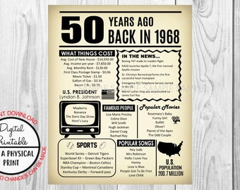 50 Years Ago The Year You Were Born, 50th Birthday Poster Sign, Back in 1968 Newspaper Style Poster, Printable, 1968 Facts, Instant Download