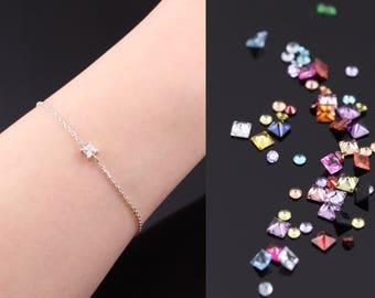 3mm Sterling Silver CZ Bracelet, Cubic Zirconia Bracelet, Dainty silver chain bracelet, Delicate silver bracelet, Sterling silver bracelets