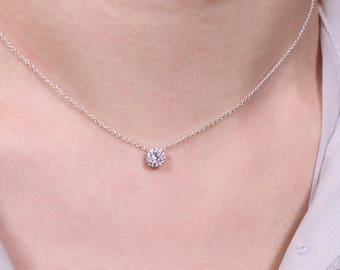 Cubic zirconia necklace, dainty silver necklace, dainty cz Necklace, tiny cz necklace, anniversary gift, sterling silver necklace, simple