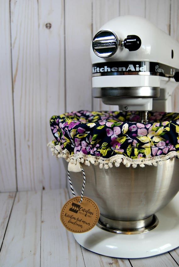 Purple Navy Floral Kitchenaid Mixer Fabric Bowl Cover