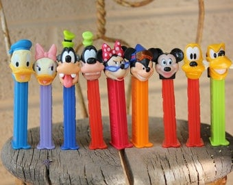 1980's Vintage PEZ - All Different Disney - Mickey, Minnie, Donald, Daisy, Pluto, Goofy - Lot of ten 10 - All in very good condition