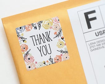 Floral Thank You Stickers - Packaging Sticker - Thank You Favor Stickers - Product Packaging - Flower Stickers - Printed Thank You Stickers