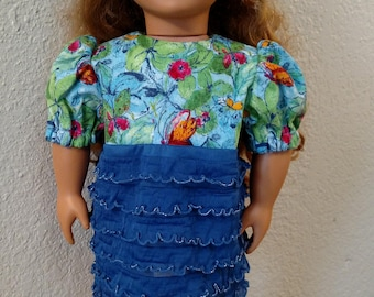 "Blue Ruffled Party Dress with Butterflies for American Girl or 18"" Dolls"
