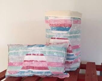 Sunset Toy bag + matching cushion.