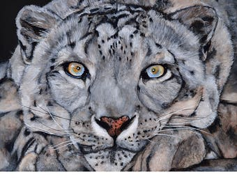 Watercolor Painting Giclee Print Fine Art Watercolor Animal Snowleopard Realistic