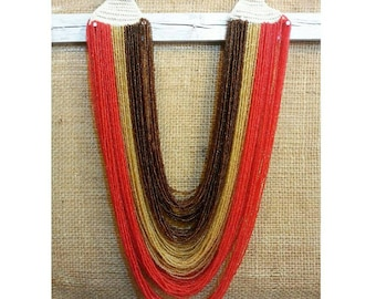 Gorgeous red & brown necklace