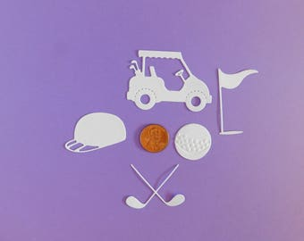 GOLF cart die cuts / Paper golf cart Die cuts, Cupcake toppers, Golf party decor, Scrapbook, cardmaking embellishments, golf cart gift tags