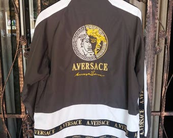 Vintage alfredo versace windbreaker jacket spellout embroidery logo/large/versace jeans