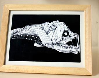Illustration impression affiche poster poisson des profondeurs, abysse, monstre marin effrayant, noir, océan, mers, dessin, art, encre