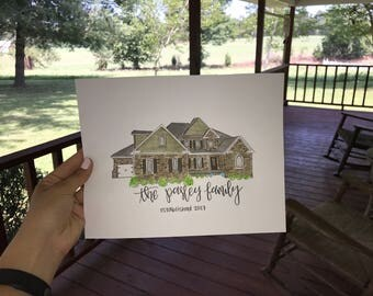 Custom Home Watercolor Painting