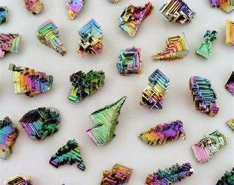 8 Pieces Jewelry-Grade Bismuth Crystal Lot Wire-Wrapped Pendant Earrings Crafts Display Specimens