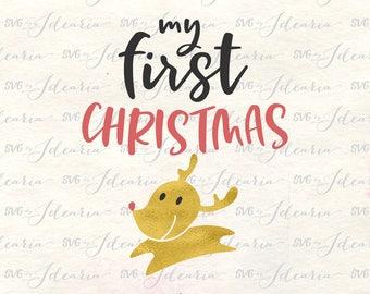 First Christmas svg, baby christmas svg, 1st christmas svg, baby svg, baby onesie svg, reindeer svg, Rudolph svg, baby first Christmas, svg