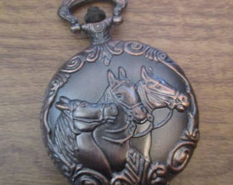 Bronze Colour Pocket Watch with Trio of Horses Design