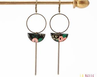 Earrings dangle half moon black floral pattern