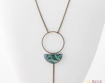 Necklace long pendant half moon resin wax green pattern