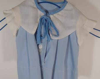 Vintage Baby Dress with Blue & White Trim - Worn by Owner as a Baby (Very Beautiful!) No Visible Markings for Maker