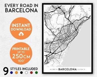 Barcelona map print, Printable Barcelona map art, Barcelona print, Spain map, Barcelona art, Barcelona poster, Barcelona wall art, Catalonia