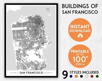 San Francisco map print, San Francisco print, San Francisco city map, California map, San Francisco poster, San Francisco wall art