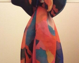 Multi-coloured animal print chiffon scarf