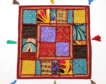 Handmade Hippie Gypsy Home Decor Ethnic Multi color Embroidered Hippy Patchwork Bohemian Pillow Shams Couch Cushion Cover Case G778