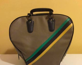 NEW LOW PRICE Vintage One Ball  Bowling Gray with Blue,Black and Yellow Trim/retro bowling/vintage bowling bag