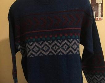 ON SALE Vintage Mens X Large  Long Sleeve Pendleton Virgin Wool Sweeter Made In Usa