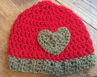 Red and brown heart crocheted newborn hat