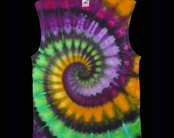 men sleeveless muscle shirt tie dye spiral