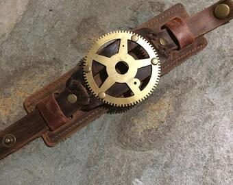 Brown Leather Rustic Cuff Bracelet, Steampunk / Diesel Punk Design With Big Brass Cogs.