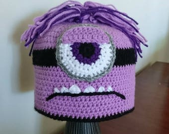 Purple Monster Beanie, kids hat, crochet, scary minion. READY TO SHIP, one only.